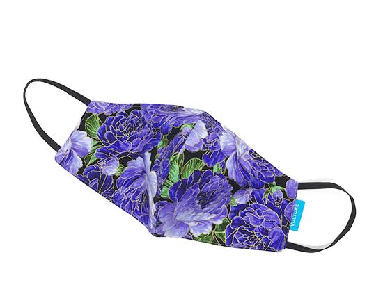 Abdeckung für Mund und Nase lila mit Blumen