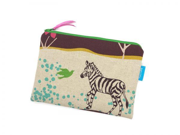 flache Kosmetiktasche mit Zebraa