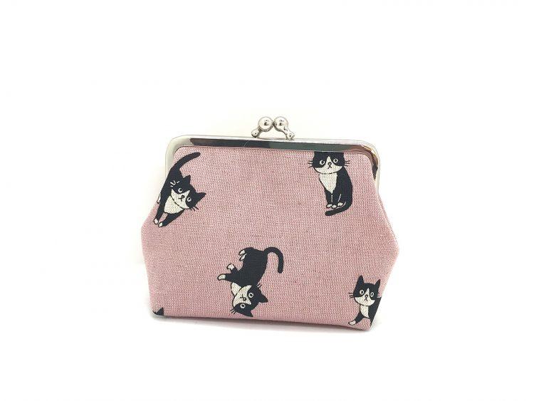 rosa Clipbörse mit Katzen