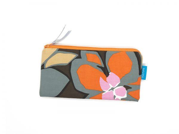 Stiftetasche braun mit Blume