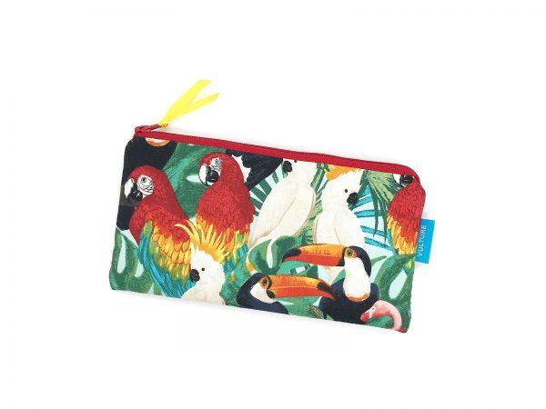 Stiftetasche mit Papageien