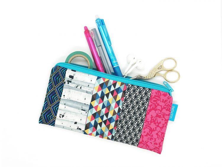 Stiftetasche Patchwork blau grau pink