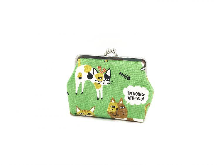 grüne Clipbörse mit Katzen